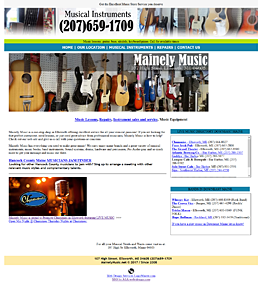 web design for musical instrument repair and sales
